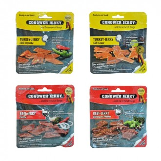 Conower Jerky - 4er Set - Beef & Turkey - 4 x 25 gr. (100 gr.)