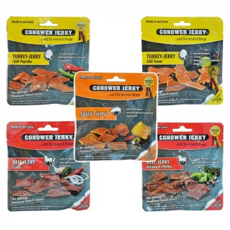 Conower Jerky - 5er Set - Beef, Turkey, Pork - 5 x 25 gr. (125 gr.)